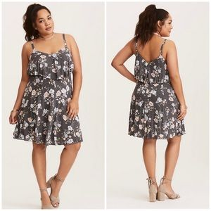 Torrid Floral Print Ruffled Hacci Knit Dress